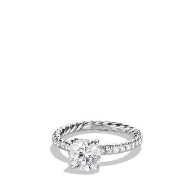 dy eden pave engagement ring in platinum round - David Yurman Wedding Rings